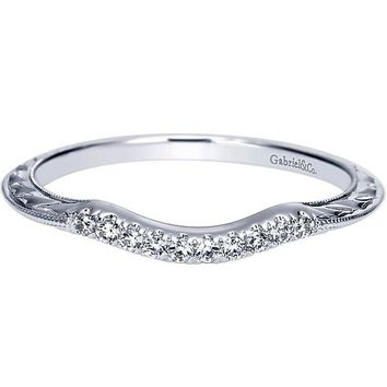 Gabriel Victorian Style Curved Engraved Diamond Wedding Band