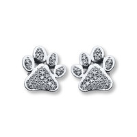 Paw Print Earrings 1/6 ct tw Diamonds Sterling Silver