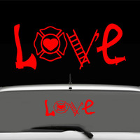 Firefighter LOVE Car Decal