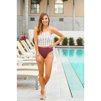 Nani Swim Midkini Top - Stone Stripe