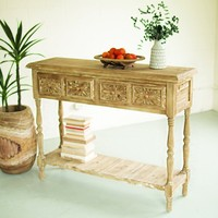 Wood Console With Four Drawers & Lower Shelf