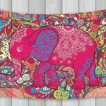 Mandala Decor Tapestry Indian Worship Red Elephant Bohemian Style Wall Art Hanging for Bedroom Living Room Dorm