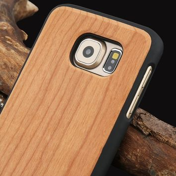 Real Wood Phone Cases For Samsung Galaxy S6 S6 Edge Natural Rosewood Cherry Carbonized Bamboo Wooden