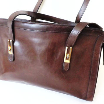 English Leather Chestnut Brown Handbag, Business Bag, Small Tote / Kelly Shoulder Bag / Quality Day Bag / Ladies Purse / Document Case
