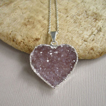 Druzy Heart Necklace Drusy Quartz Sterling Silver Cable Chain