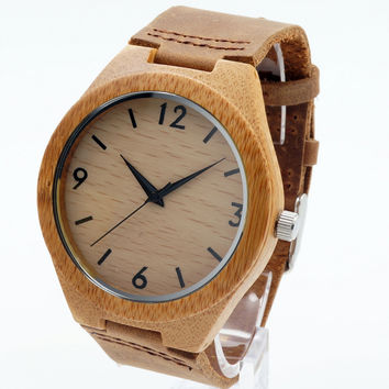 BOBO BIRD Fashion Loves' Brand Designer Bamboo Wooden Watches Japanese 2035 Movement Analog Quartz Watches With Leather Bands