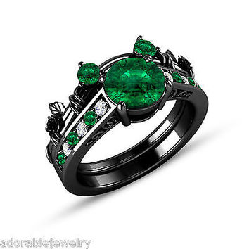 New Full Black 925 Sterling Emerald & White Diamond Mickey Mouse Bridal Ring Set