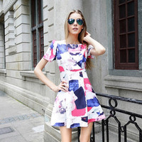 Vintage Graffiti Paint Graphic Short-Sleeve Pleated Skater Dress