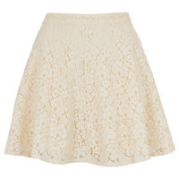 Cream Lace Skater Skirt - Full & Flippy Skirts - Skirts  - Clothing