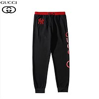 GUCCI & NY New fashion embroidery letter print couple pants Black