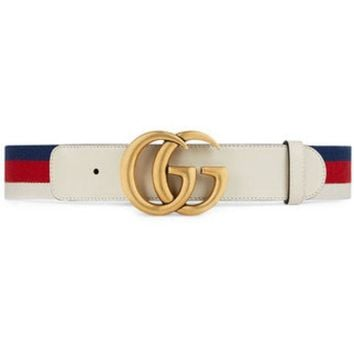 PEAPONJF Gucci Sylvie Web Belt With Double G Buckle - Farfetch