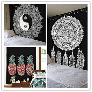 Cilected Black And White Wall Cloth Tapestries Feather Printed Mandala Tapestry Wall Hanging Home Decor Beach Throw Towel