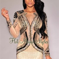 Nude Embellished Long Sleeves Padded Dress