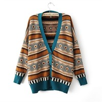 Long Batwing Sleeve Ethnic Stripes Embellished Christmas Cardigan For Women