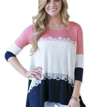 Multi-color Long Sleeve Blouse with Lace Accent