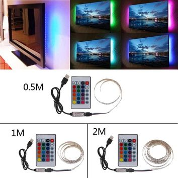 DC 5V USB 30 LED/m 5050 RGB Non Waterproof Flexible LED Strip Light TV Back Lighting+24 Key Remote WHI