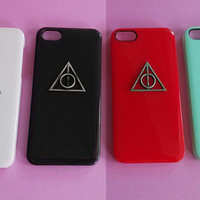 Harry Potter Deathly Hallow -- iphone 5 case ,stud iphone 5 case in black or white or green or red