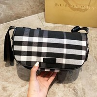 BURBERRY Hot Sale Leather Canvas Handbag Waist Bag Crossbody Satchel Shoulder Bag