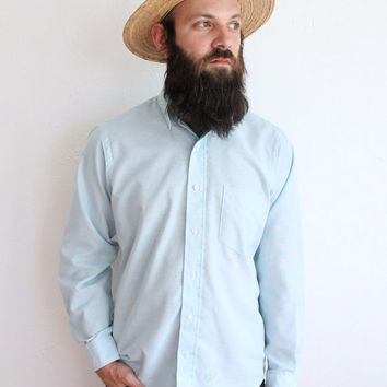 Vintage 70s Men's Light Blue Classic Oxford Button Up Shirt