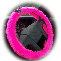 Barbie Pink steering wheel cover with skull and cross bones black and white ribbon bow halloween skulls faux furry fur fluffy fuzzy car