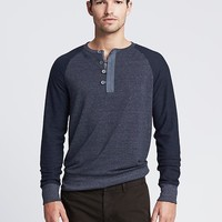 Banana Republic Heritage Navy Terry Henley Size L - Navy