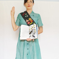Vintage Girl Scout Uniform with Sash . Troop 69 . Size Extra Small / Small