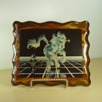 "1982 Sue Dawe Unicorn Clock - 12"" x 10"" - Vintage Wall Hanging - Up From the Grid"