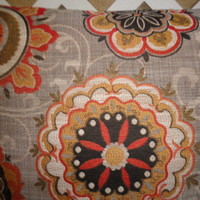 Floral Designs Pillow Cover Pumpkin Orange, Spice, and Black on Grey