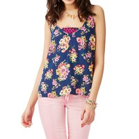 Sheer Floral Chiffon Woven Top - Aeropostale