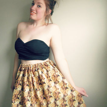 Cookie Monster Chocolate Chip High Waisted Party Skirt