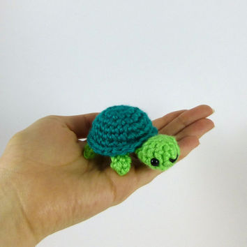 Baby Turtle - Green and Jade - Made to Order - Amigurumi Crochet Plushie