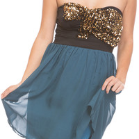 JEWELED BOW DRESS - TEAL
