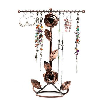 Mordoa Creative Vintage Rose Necklace Bracelet Night Fancy Hand String of Jewelry Display Shelf Creative Jewelry Frame metal