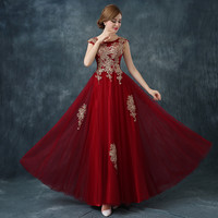 Long Red Lace Evening Dress Formal Party Prom Dinner Gold Embroidery Plus Size Maternity Dinner Prom Formal Dress Custom Made