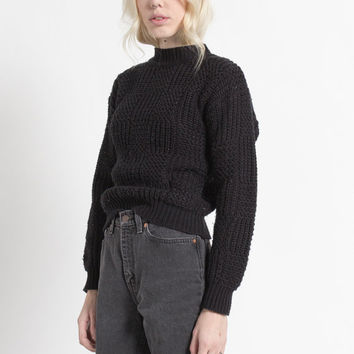 Vintage 80s Black Chunky Knit Soft Pullover Sweater | S