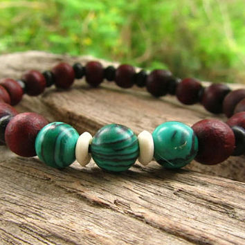 Chrysocolla Gemstones & Wooden Beaded Bracelet / Ethnic Boho Hipster Hippie Surfer Stretchy Elasticated Wristband / Men's Jewelry