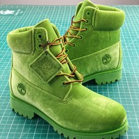 Off White X Timberland Velvet Hiking 6-inch Green Boots - Best Online Sale