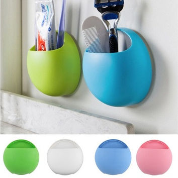 2016 Newest Toothbrush Holder Bathroom Kitchen Family Toothbrush Suction Cups Holder Wall Stand Hook Cups Organizer [8045579143]