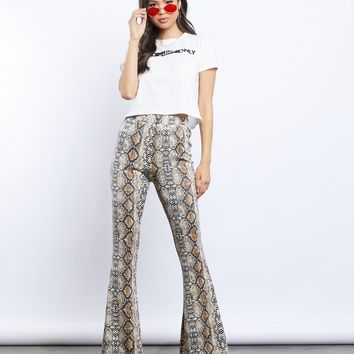 Wild Babe Snakeskin Bell Bottom Pants
