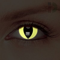 iD Lenses Yellow Cat Eye Glow In The Dark Contacts