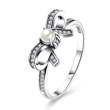 Sterling Silver Pandora Inspired Pearl Bow Ring