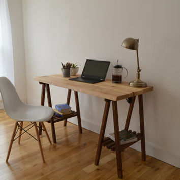Reclaimed Wood Desk with A Frame Legs - Natural top with Walnut Legs || Free Shipping || Baltimore, Recycle
