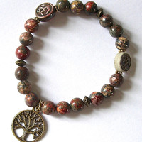 Leopard Skin Jasper Bracelet with Brass Tree of Life charm, high fired clay Tree of Life bead and Reku Ohm bead
