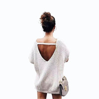 SIMPLE - Autumn Women Knit Loose Sports Hoodies Short Sleeve Sweatshirt a12874