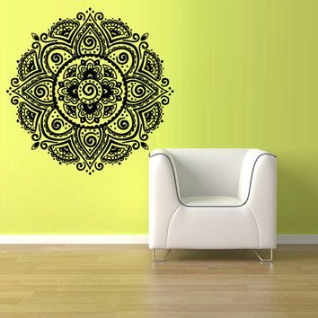 Wall Decal Vinyl  Mural Sticker Art Decor Bedroom Dorm Kitchen Ceiling Mandala Menhdi Flower Pattern Ornament Om Indian Hindu Buddha (z2828)