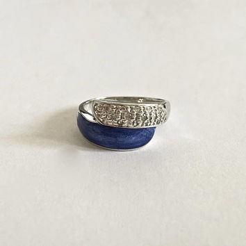 Unique and Elegant Wrap Ring with Pave Style CZ's adjacent to Blue Lapis Stone in Sterling Silver Setting - Approximate size 10