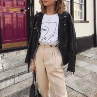 Casual harem pants female trousers High waist buttons office ladies blazer suit pants Loose Ankle-length women's pants