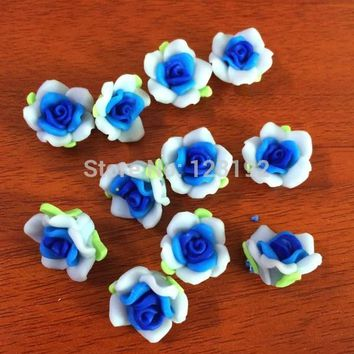 Free Shipping 30pcs Light Blue+Dark Blue Polymer Fimo Rose Shape beads Clay Spacer Beads 15mm For Jewelry Making Craft DIY