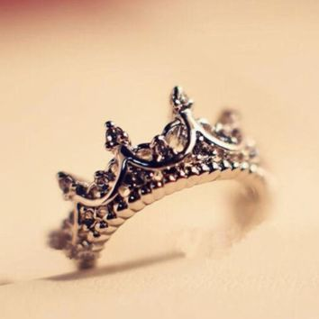 Crystal Drill Hollow Crown Shaped Queen/Princess Temperament Rings. 925 Sterling Silver For Women Party Wedding Ring Jewelry