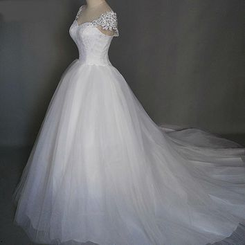 White Ivory formal Crystal Beads Wedding Dresses With Train Prom Gown Bridal Dress